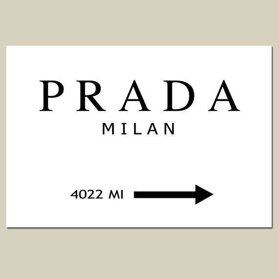 PRADA MILAN - 11x14 Large Size Print - Black and White - Gossip Girl, Fashion, Art - Customizable With Your City or State