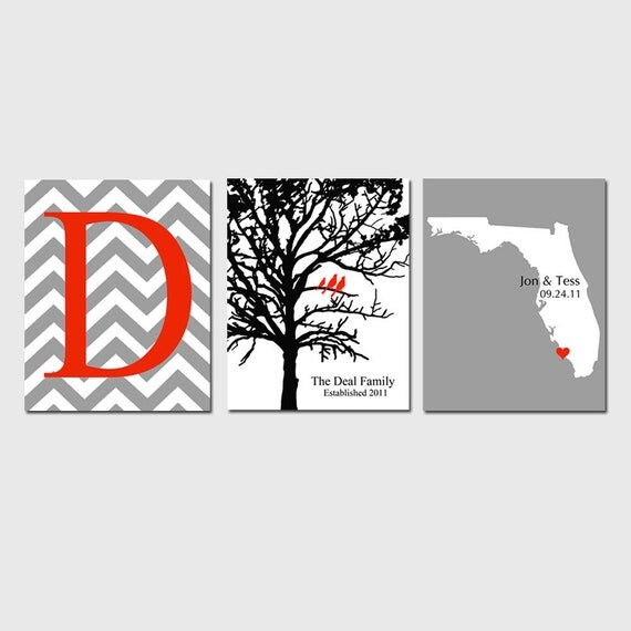Modern Family Trio - Set of Three 11x14 Customizable Prints - Chevron Monogram Initial, Family Tree, Love State Map - GREAT WEDDING GIFT
