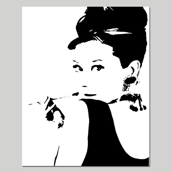 audrey hepburn 8 x 10 silhouette bild print w hlen sie. Black Bedroom Furniture Sets. Home Design Ideas