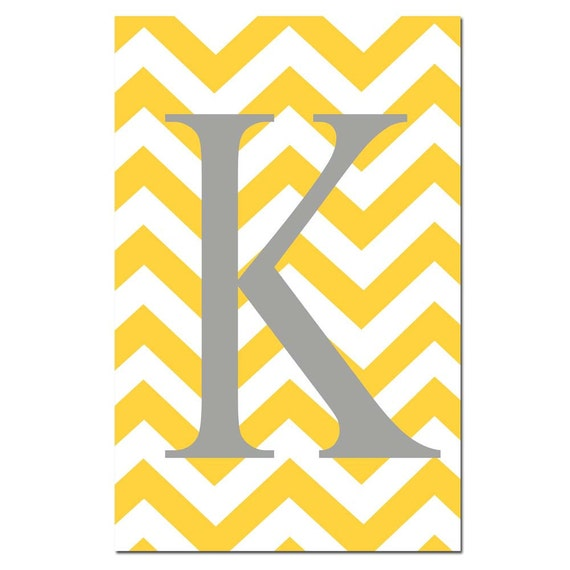 Chevron Monogram Initial - Large 11x17 Print - Nursery Decor - Kids Wall Art - Choose Your Colors - Shown in Yellow, Gray, Aqua, and More