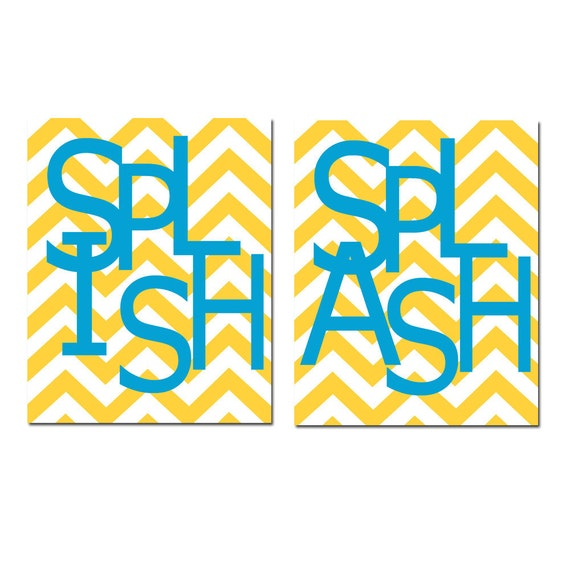 Kids Bathroom Wall Art Print Set of Two 11x14 Chevron Prints - Wash, Brush, Soak, Splish, Splash, Flush, Scrub, Floss - CHOOSE YOUR COLORS