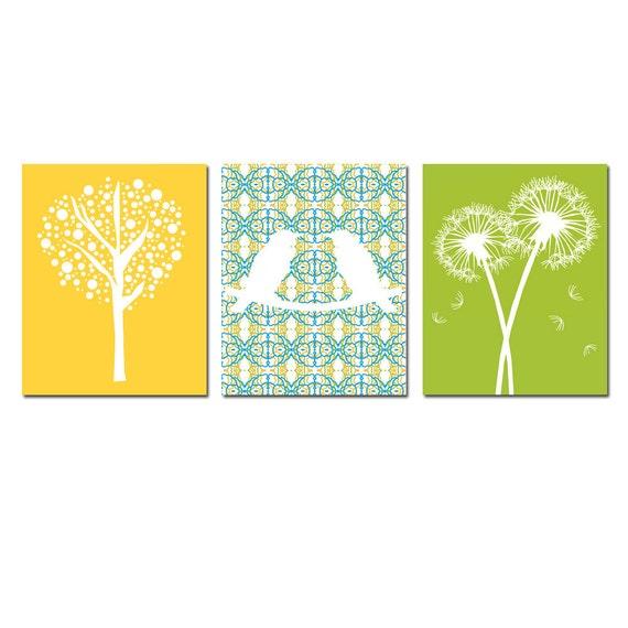 Nursery Trio - Set of Three Coordinating 11x14 Prints - Kids Wall Art - Love Birds, Tree Dot, Dandelion Floral - Choose Your Colors