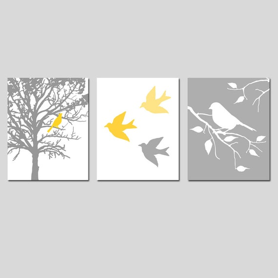 Nursery Art Prints - Modern Bird Trio - Set of Three 8x10 Prints - Birds and Trees - Choose Your Colors - Shown in Gray, Yellow, and More