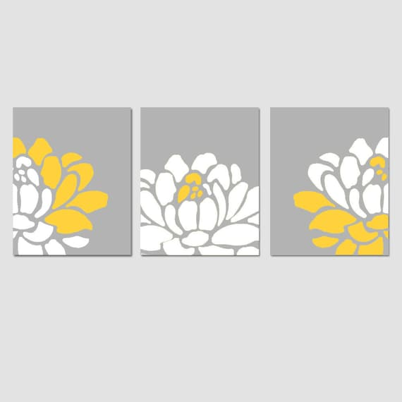 Floral Flower Wall Art Decor Trio - Set of Three 8x10 Prints - CHOOSE YOUR COLORS - Shown in Gray,Yellow, White