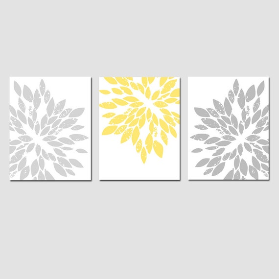 Modern Abstract Painterly Floral - Set of Three Large Scale 8x10 Floral Art Prints - CHOOSE YOUR COLORS - Shown in Pale Yellow, Gray