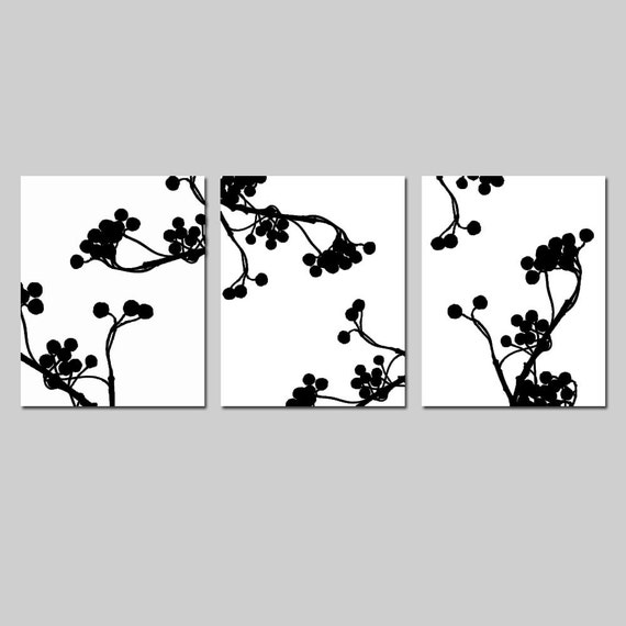 Modern Decor Botanical Trio - Set of Three 11x14 Coordinating Prints - CHOOSE YOUR COLORS - Shown in Black, White, Yellow, Gray, and More