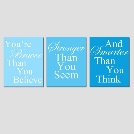 Set of Three 11x14 Coordinating Winnie The Pooh Quote Prints - Modern Nursery Decor - CHOOSE YOUR COLORS