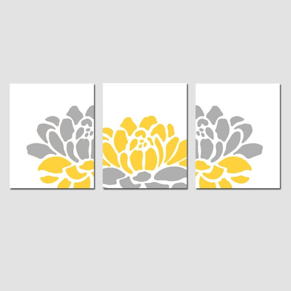 floral trio set of three 11x14 prints modern wall art. Black Bedroom Furniture Sets. Home Design Ideas