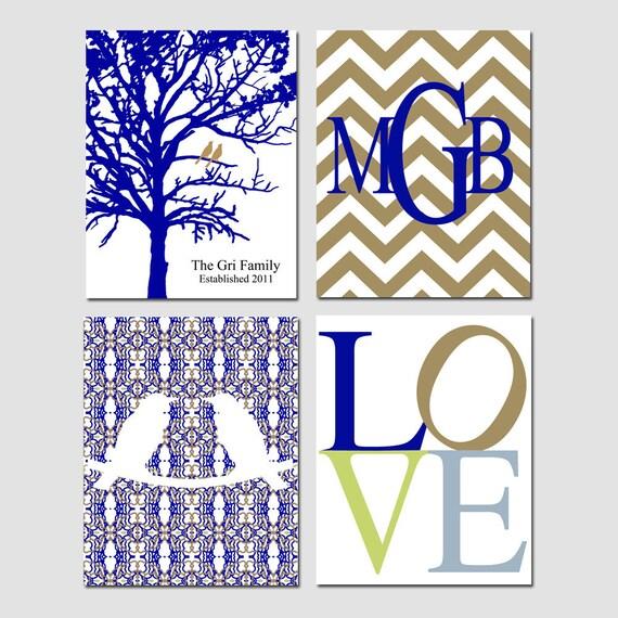Family Love - Set of Four 8x10 Prints - Love Birds, Chevron Monogram, Family Established Birds Tree, LOVE - Choose Your Colors - GREAT GIFT