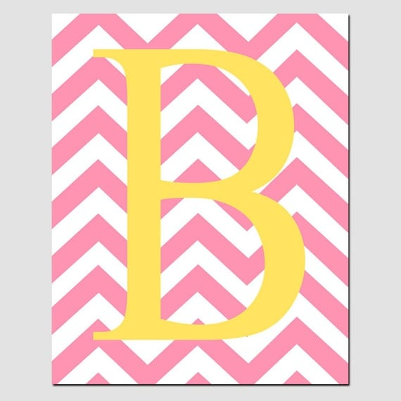 Monogrammed Letter or Customized Initial - 11x14 Print - Chevron Design Pattern - CHOOSE YOUR COLORS - Modern Nursery Decor