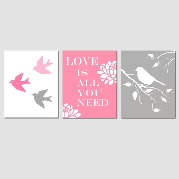 Nursery Art Bird Love Trio - Set of Three 11x14 Prints - Modern Nursery Decor - CHOOSE YOUR COLORS - Shown in Pink, Gray, Yellow, and More