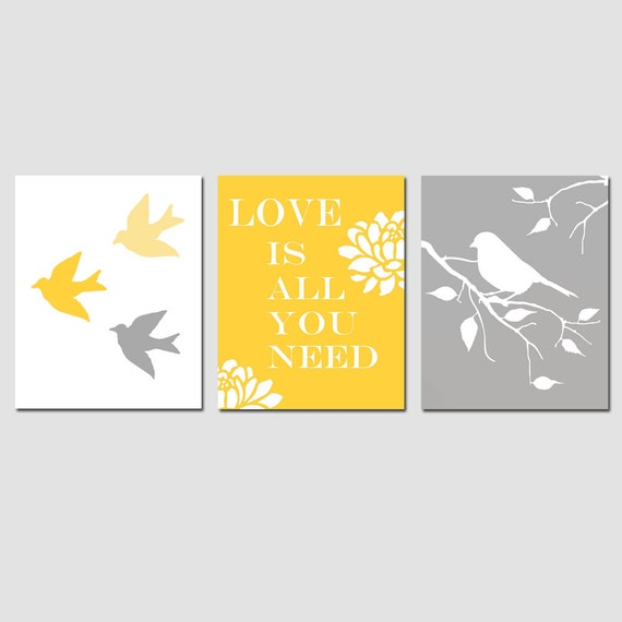 Modern Bird Love Trio - Set of Three 8x10 Prints - Kids Wall Art for Nursery - CHOOSE YOUR COLORS -  Shown in Yellow, Gray, Pink, and More