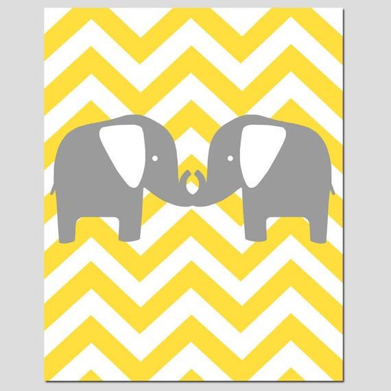 Chevron Elephant Silhouette Print - 11x14 Chevron Zig Zag - Twins - Elephants - CHOOSE YOUR COLORS - Shown in Gray, Yellow, Aqua, and More
