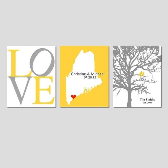 Modern Newlywed Trio - Set of Three 8x10 Customizable Prints - Love, Family Established Bird Tree, and Love Map - GREAT WEDDING GIFT