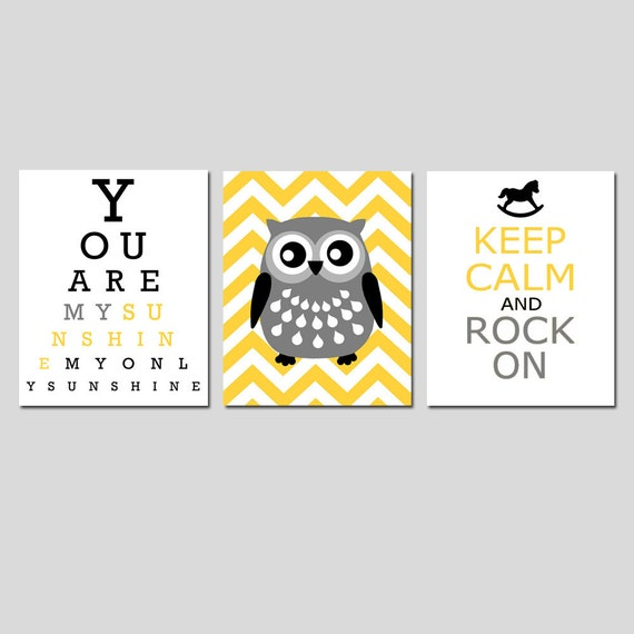 Modern Nursery Trio - Set of Three 11x14 Prints - You Are My Sunshine Eye Chart, Chevron Owl, Keep Calm and Rock On - Yellow, Black, Gray