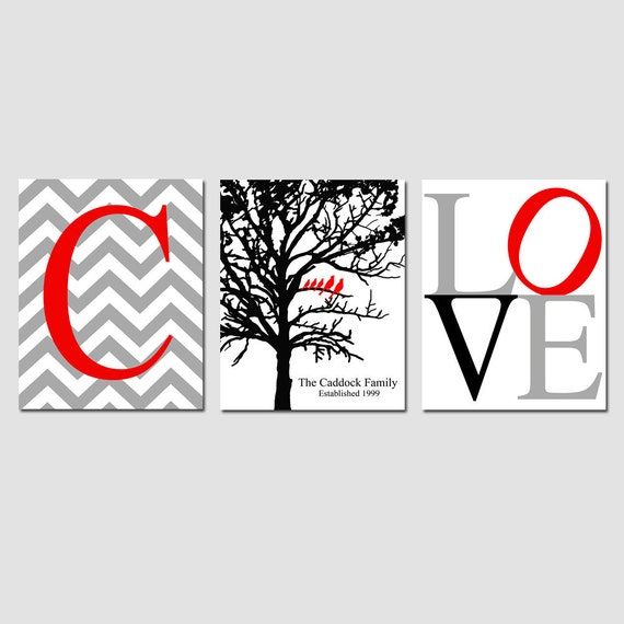Family Love Trio - Set of Three 8x10 Prints - Chevron Monogram Initial, Family Established Birds in Tree, LOVE - Great Wedding Gift