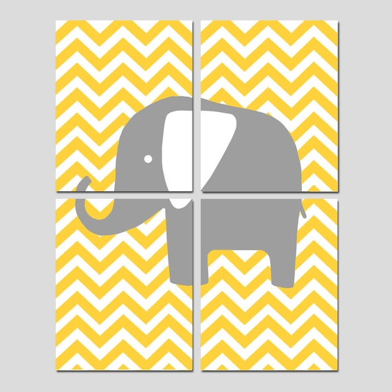 Chevron Elephant Nursery Art Quad - Set of Four 8x10 Prints - CHOOSE YOUR COLORS - Shown in Yellow, Gray, and More