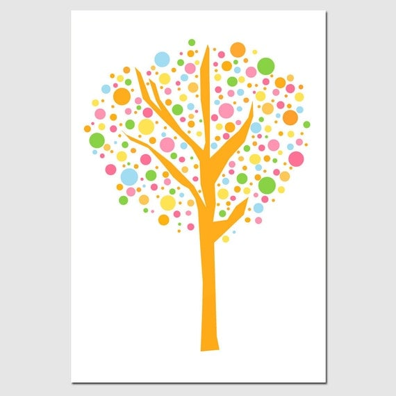 Tree Dot Nursery Decor - 11x17 Print - Kids Wall Art for Nursery - CHOOSE YOUR COLORS