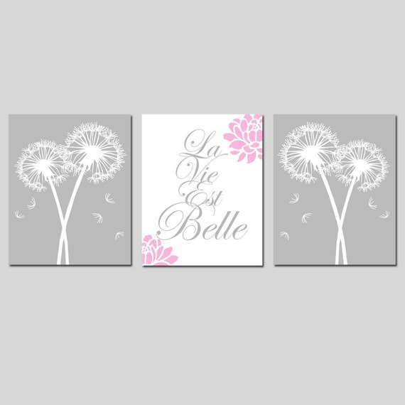 La Vie Est Belle Baby Girl Nursery Art - Set of Three 8x10 Dandelion Floral French Quote Prints - CHOOSE YOUR COLORS - Shown in Gray, Pink