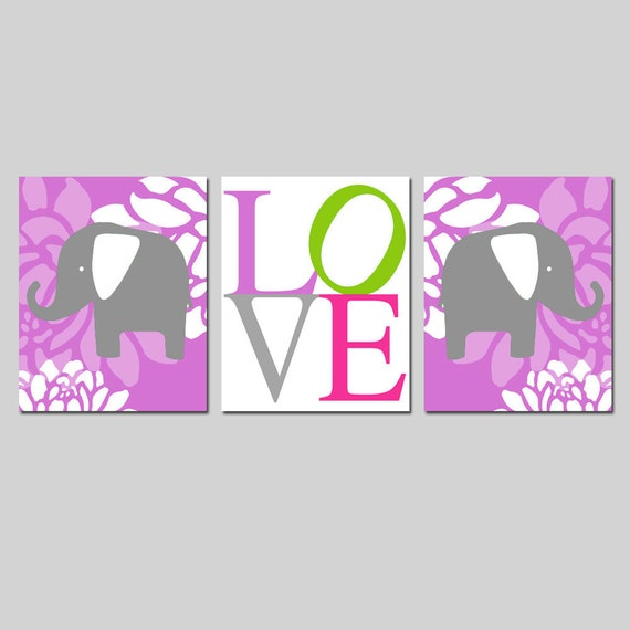 Elephant Love Floral Nursery Art Trio - Set of Three 8x10 Prints - CHOOSE YOUR COLORS - Shown in Purple Pink, Gray, Apple Green, Hot PInk