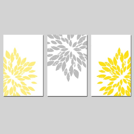 Modern Abstract Painterly Floral - Set of Three Large Scale 13x19 Floral Art Prints - CHOOSE YOUR COLORS - Shown in Lemon Yellow and Gray