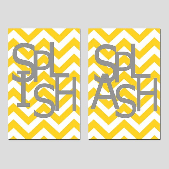 Bathroom Wall Art Etsy Kids Bathroom Wall Art Print Set Two 13x19 Chevron Prints