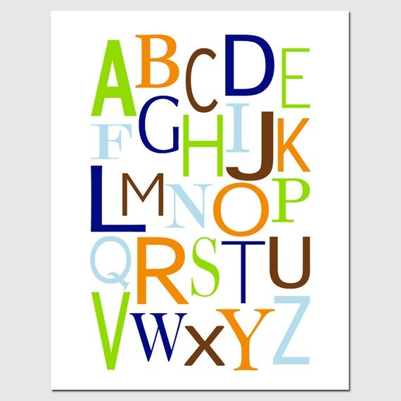 Modern Alphabet - 11x14 Nursery Art Print - CHOOSE YOUR COLORS - Shown in Navy Blue, Light Blue, Orange, Brown, Lime Green