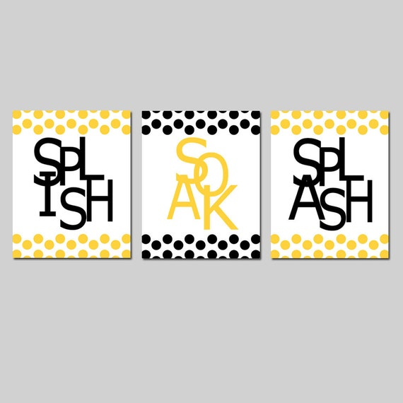 Kids Bathroom Wall Art Print Set of Three 8x10 Polka Dot Prints - Wash, Brush, Soak, Splish, Splash, Flush, Floss, Scrub  CHOOSE YOUR COLORS
