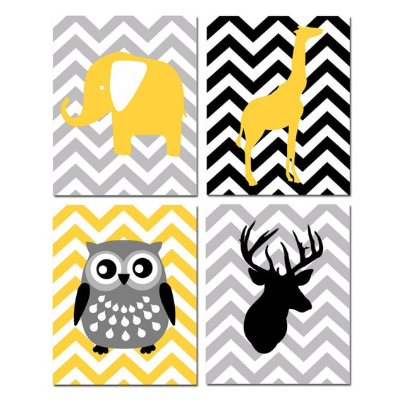 Animal Nursery Art Animals Nursery Decor Chevron Animal Nursery Wall Art Set of 4 Prints - Deer Owl Elephant Giraffe - CHOOSE YOUR COLORS