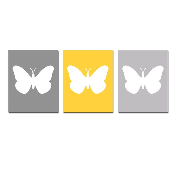 Butterfly Silhouette Nursery Art  - Set of Three 8x10 Prints - CHOOSE YOUR COLORS - Shown in Yellow, Gray, Pale Gray, White