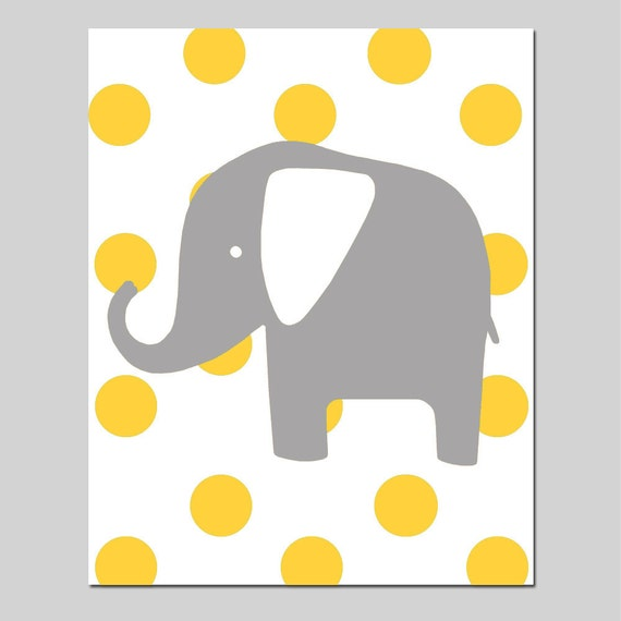 Polka Dot Elephant - 11x14 Print - Kids Wall Art for Nursery - Choose Your Colors - Shown in Gray, Yellow, Aqua, Pink, and More