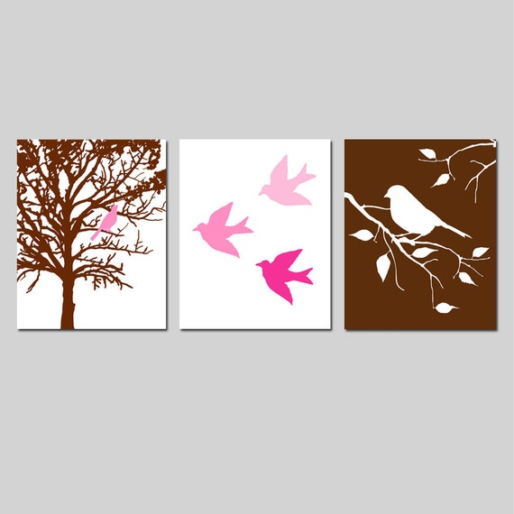Modern Bird Trio - Set of Three 8x10 Nursery Art Prints - CHOOSE YOUR COLORS - Shown in Chocolate Brown, Pink, Blue, Yellow, Gray, and More