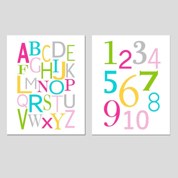 Set of Two 8x10 Prints - Alphabet and Numbers - Modern Nursery - CHOOSE YOUR COLORS - Shown in Pink, Aqua, Green, Gray, Yellow, and More