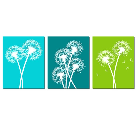 Dandelion Floral Art Trio - Set of Three 8x10 Coordinating Flower Prints - CHOOSE YOUR COLORS - Shown in Aqua, Teal and More
