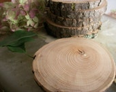 8 Wood Tree Blanks - Michigan Red Cherry - 2 3/4 - 3 Inch - for Woodburning, Ornaments, Artists, Wedding Decor