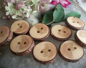 Wooden Buttons - 9 Michigan Spruce Wood Tree Branch Buttons 1 1/8 - 1 1/4 - 1 3/8  Inch... 2 holes...OOAK for Fiber Projects