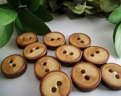 Small Wooden Buttons - 12 Red Cherry Tree Branch Buttons - 7/8 inch or 22 mm for Pillows, Journals, Hats, Cowls, Mug Sleeves