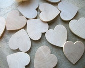 50 Wooden Heart Magnets -  Maple Wood  1 3/4 inch - for Weddings, Showers, Save The Date Magnets or Place Card Holders