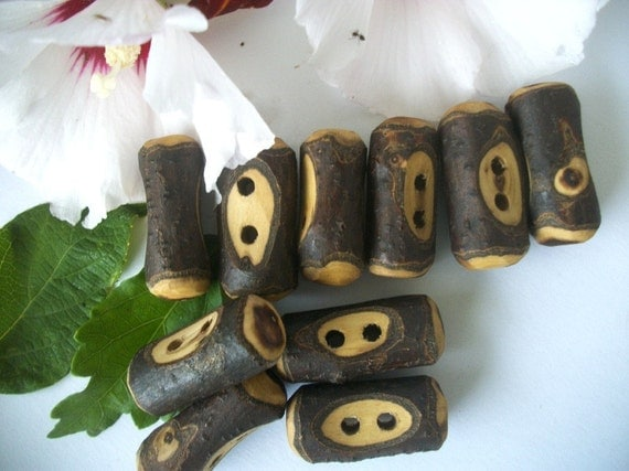 10 Russian Olive Wood Wooden Tree Branch Toggle Buttons - 2 Inch ... For Scarves, Sweaters, Cowls, Journals or Embellishments