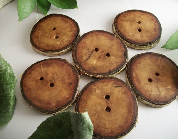 Wooden Buttons - 6 Paper Birch Wood - 1 5/8 - 1 3/4  inch for Journals, Pillows, Cowls, Cuffs, Hats or Scarves