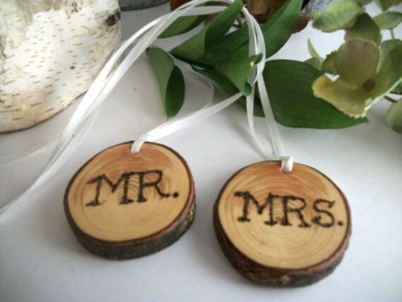 Rustic Mr and Mrs Wooden Wedding Charms for Bouquets, Toasting Glasses, Display, Memory Books