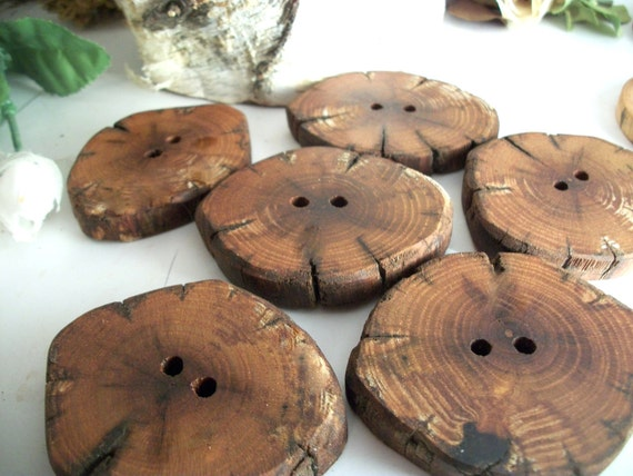 Wooden Buttons - 6 Antique Looking Mulberry Tree Branch Buttons for Knitting, Crochet, Yarn or Fiber projects