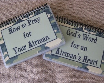 SALE - How to Pray for Your Airman/God's Word for an Airman's Heart - Combo Set, Spiral-Bound, Laminated Prayer Cards/Bible Verse Cards