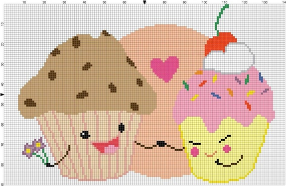 Muffin Loves Cupcake Cross Stitch Pattern - Professional Pattern Designer and Artist Collaboration