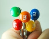 Candy Pins - Bobby Pins - Polymer Clay -Handmade - Miniature Polymer Clay - Food Pins - Back to School - Rainbow - Hair Accessories