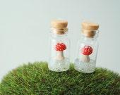 Floating Toadstool Mushrooms. Handmade Miniature Polymer Clay Woodland Jewelry.
