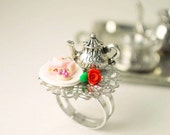 Tea Party - Food Ring - Food Jewelry - Handmade - Miniature - Polymer Clay Jewelry - Novelty Ring - Cocktail Ring - Alice in Wonderland