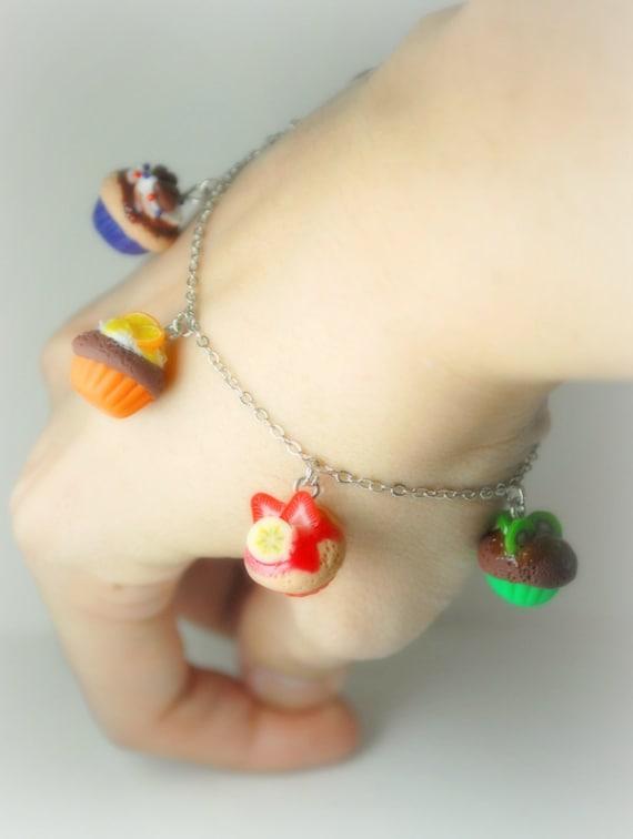 Rainbow Cupcake, Sweets Charm Bracelet in Handmade Polymer Clay Food Jewelry.