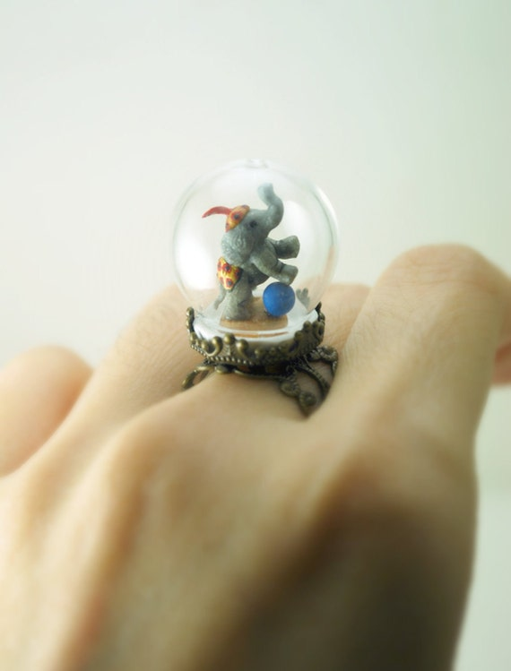One of a Kind Elephant Ring in Pyrex Glass Dome. Handmade Miniature Polymer Clay Jewelry. Dainty Animal Diorama. Glass Dome Ring.