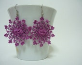Little Moons Crocheted Earrings in medium orchid